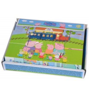 Дървени кубчета Eichhorn - Peppa Pig, 12 части
