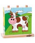 Низанка с дървени кубчета Woody - Домашни любимци, 9 части