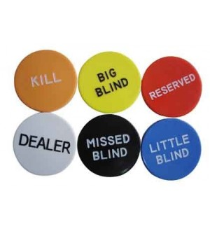 Протектор за карти - Big Button Set (Kill, Dealer, Big Blind, Small Blind, Missed Blind, Reserved)