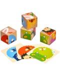 Дървен пъзел Lucy&Leo - Кубчета с картинки, Кой какво яде?