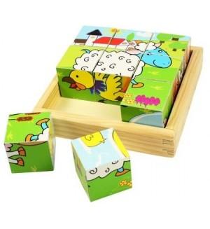 Дървени кубчета Bigjigs - Животните от фермата, 9 части