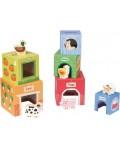 Детски комплект Lelin Toys - Картонени кубчета с дървени животни