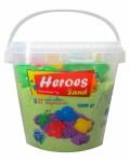 Кинетичен пясък в кофа Heroes – Зелен цвят с 6 фигурки, 1000 g