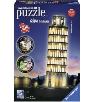 3D пъзел Ravensburger от 216 части - Наклонената кула в Пиза през нощта