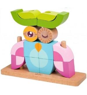 Детски дървен пъзел с кубчета Classic World – Бухал