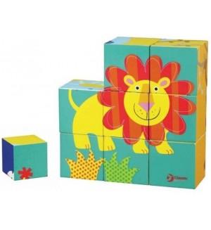 Детски дървен пъзел с кубчета Classic World – Животни