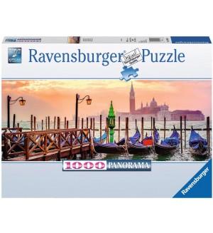 Панорамен пъзел Ravensrbuger от 1000 части - Гондоли във Венеция