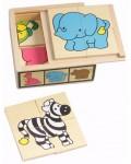 6 мини пъзела в кутия - Диви животни